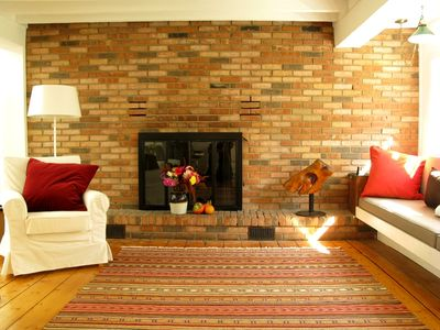 Large light living room with Romantic Fireplace