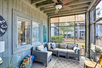 Spend time on the screened-in porch at this Myrtle Beach vacation rental!