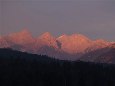 The Needle Mountain Range from the Living Room at Sunset