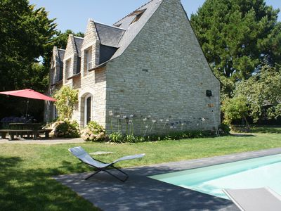 Photo for Stone holiday villa with pool and sea views Gulf of MORBIHAN