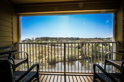 Beautiful view from private screened in deck of ocean, marsh, lagoon and golf!