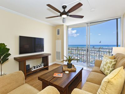 Photo for Marina & Ocean views!  Walk to beach, shops, restaurants!  Sleeps 4.