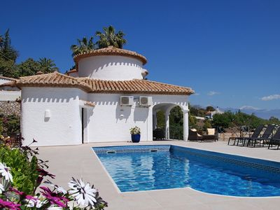 Photo for Modern, Stylish & Comfortable. Large Heated Pool, Panoramic Sea Views, WiFi.