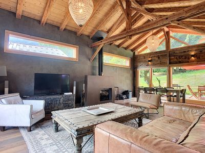 Photo for New chalet breathtaking view of the Mont Blanc massif ski back 50 m