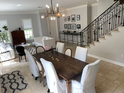 Open concept with front and dining area with easy kitchen access.