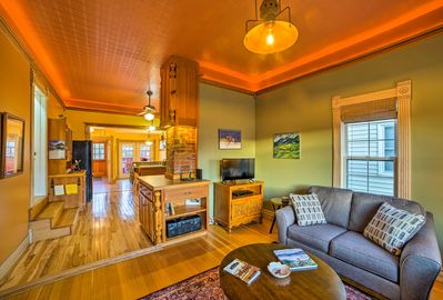 An open floor plan leads you from room to room.