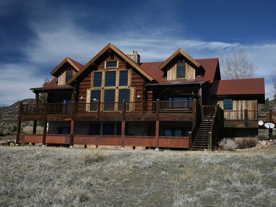 Photo for New Listing! Custom Built Log Home on 3 Acres - Deck w/ Views - Pets Welcome