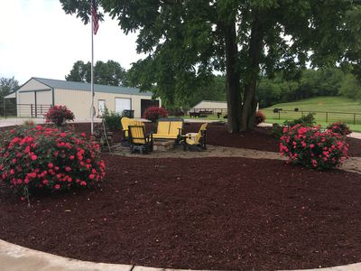 Spring time roses/fire pit area