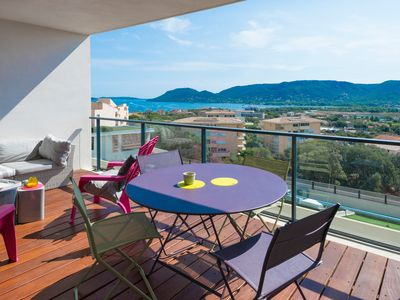 Photo for Superb sea view apartment ideally located 750m from the port, shops and the historic centre of Porto-Vecchio