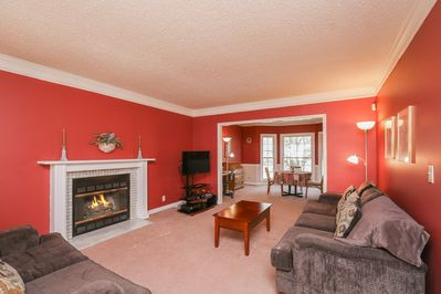 Living Room - The living room has a classic gas fireplace and plenty of seating