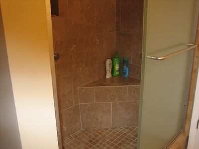 Walk in shower with seat in Master Bath