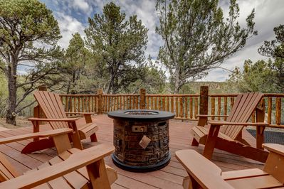 Fire Pit with Adirondack Chairs overlooking a Canyon
