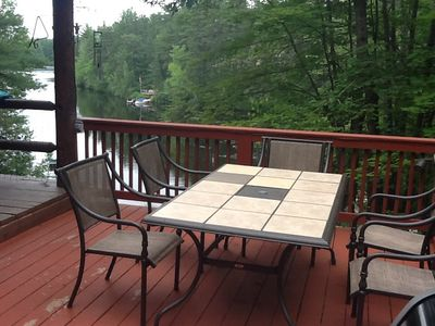 Ceramic tile table on deck overlooking lake!  No  place finer to eat breakfast!