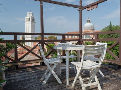 Photo for Large attic apartment on 2 floors, Biennale area, with roof terrace
