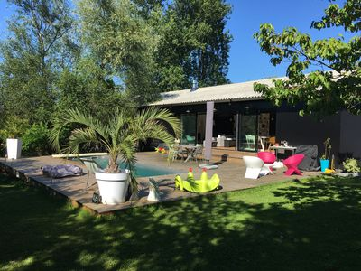 Photo for Architect house with pool in a village 15 minutes from the center of Bordeaux