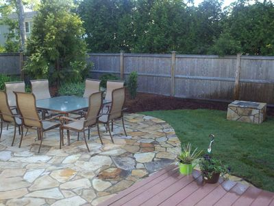 Back yard with  dining table and fire pit