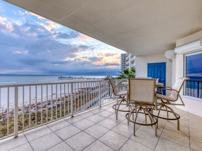 Photo for Gulf-front condo w/ stunning water views & shared pools, hot tub & grills!