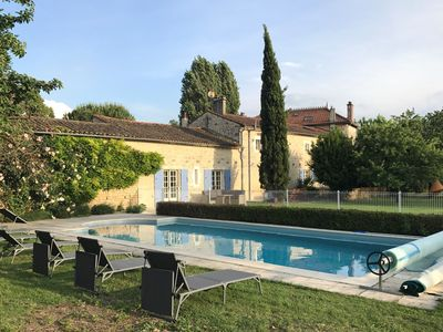 Photo for Lovely stone house large private heated pool and gardens, ideal for families