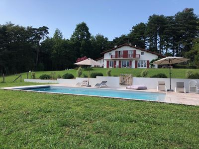 Photo for Large family house, tennis, swimming pool, large view on the Rhune, 2ha of land