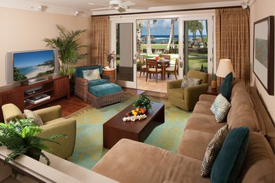 "Ocean & beach view living room! - with pull-out gel memory foam sofa bed and 55"" SMART TV, DVD player and ceiling fan"