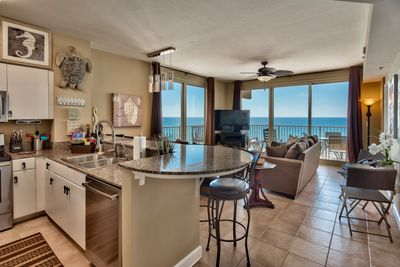 Open concept living and kitchen area and amazing views