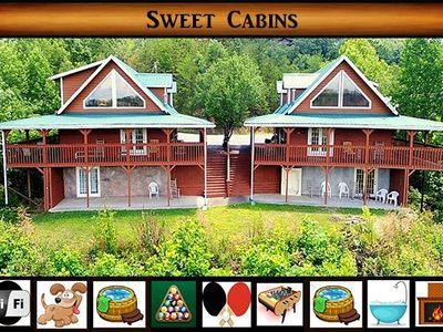 Photo for Sweet Cabins} 2 Full Cabins for the price of 1\ Game Room\ Hot Tub\Pet Friendly