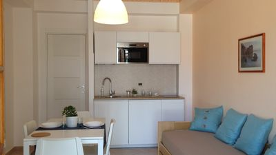 Photo for 1st floor apartment with terrace overlooking Mount Etna, bathroom with shower
