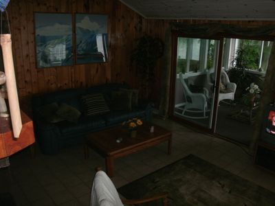 living area, with porch