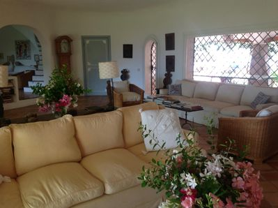 the main sitting room. Linen sofa loose covers