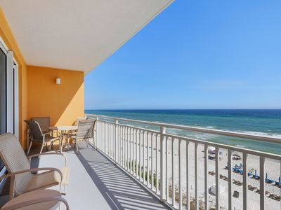 Photo for Enjoy this beachfront condo w/ seasonal beach service, pools, hot tub & arcade!