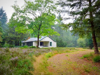 Photo for Detached wooden house in a very unique location in the middle of a heathland