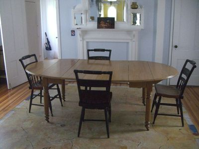 dining room, an extra leaf to extend the table available