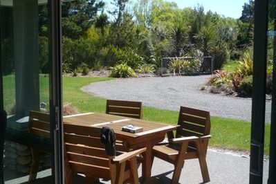 Sunny, sheltered outdoor dining