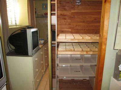 Custom cedar closet with lucite front drawers