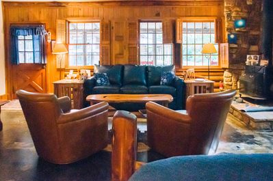 View from bed into living space.  Abundance Retreat's Moondance Cabin,Wimberley