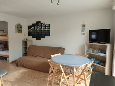 Photo for T2 apartment cabin with terrace and pool 10m from the beach