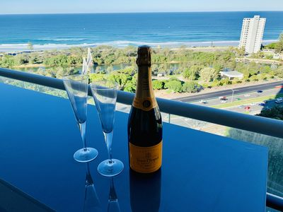 Stunning ocean views to enjoy while relaxing with a glass of champagne.