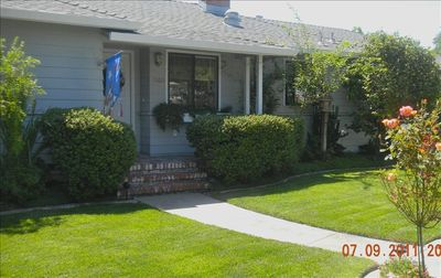 Front entrance: lawn & gardens excellent. Gardener supplied.