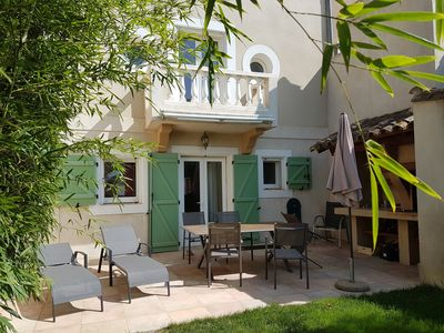 Photo for Cozy cottage, BBQ, garden, direct access to the pool and spa, ideal for families
