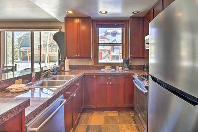 The 2-bed, 2-bath vacation rental features all of the comforts of home.