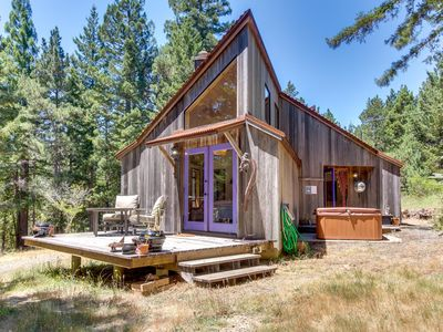Photo for Contemporary cabin w/ cozy fireplace, deck, & private hot tub - dog-friendly!