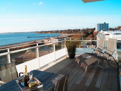 Photo for New, modern penthouse apartment near the beach with sea views for up to
