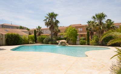 Photo for Modern, bright and airy villa with beautiful residents only pool in Valras Plage