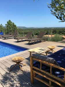 Photo for Quiet modern villa with pool, near St Cyprie beach