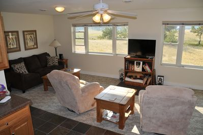 Living room area and flat screen TV for watching movies and streaming