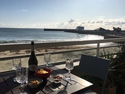 Photo for Beautiful apartment with stunning sea views on the large beach of Quiberon