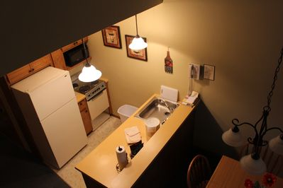 Overhead view of kitchen from lofted 2 bedroom!