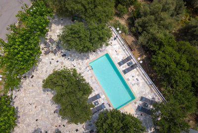 An aspect of the pool terrace from above!