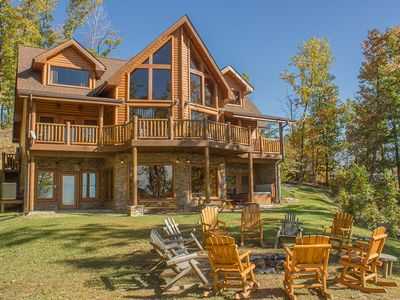 """Photo for Aug 17-22 Book Now! """"Cherokee Lodge"""" Fabulous FirePit, Mtn View, Comm. Pool"""