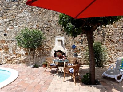 Fabulous spacious, sunny, secluded courtyard with pool and shade if needed.